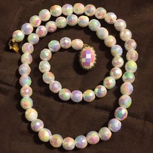 Vintage AB mirrored beaded necklace